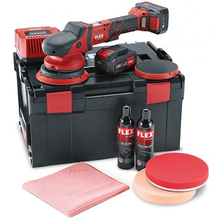 FLEX XFE15 150 18.0EC/5.0 P-set BS, 18v cordless roto random orbit polisher kit